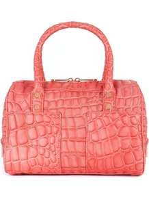 Ted Baker Timona Embossed Bowler Bag - predominant colour: coral; occasions: casual, work, holiday; type of pattern: heavy; style: bowling; length: handle; size: standard; material: leather; pattern: animal print; trends: fluorescent; finish: metallic