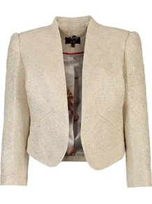 Ted Baker Hydee Metallic Detail Jacket - pattern: plain; style: cropped; length: cropped; predominant colour: ivory; occasions: casual, evening, work, occasion; fit: tailored/fitted; fibres: cotton - mix; sleeve length: 3/4 length; sleeve style: standard; trends: metallics; collar break: low/open; pattern type: fabric; pattern size: standard; texture group: tweed - light/midweight