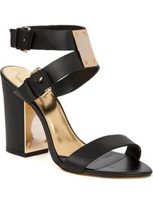 Ted Baker Lissome Heeled Leather Sandals - predominant colour: black; occasions: casual, evening, occasion, holiday; material: leather; heel height: high; ankle detail: ankle strap; heel: block; toe: open toe/peeptoe; style: standard; finish: plain; pattern: plain; embellishment: chain/metal