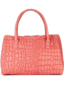Ted Baker Travars Bowler Bag - predominant colour: coral; occasions: casual, work, holiday; type of pattern: large; style: bowling; length: handle; size: standard; material: leather; pattern: animal print; trends: fluorescent; finish: metallic