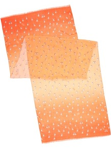 Ted Baker Lassy French Bull Dog Printed Scarf - predominant colour: bright orange; occasions: casual, work; type of pattern: small; style: regular; size: standard; material: fabric; embellishment: fringing; trends: fluorescent; pattern: patterned/print
