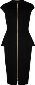 Ted Baker Siona Contoured Dress - style: shift; sleeve style: capped; fit: tailored/fitted; pattern: plain; neckline: high neck; hip detail: fitted at hip; waist detail: peplum waist detail; bust detail: buttons at bust (in middle at breastbone)/zip detail at bust; predominant colour: black; occasions: evening, work, occasion; length: just above the knee; fibres: polyester/polyamide - stretch; sleeve length: sleeveless; trends: glamorous day shifts; pattern type: fabric; texture group: jersey - stretchy/drapey