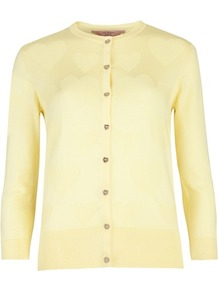 Ted Baker Jonta Heart Detail Cardigan - neckline: round neck; back detail: contrast pattern/fabric at back; bust detail: buttons at bust (in middle at breastbone)/zip detail at bust; predominant colour: primrose yellow; occasions: casual, work; length: standard; style: standard; fibres: cotton - 100%; fit: standard fit; sleeve length: 3/4 length; sleeve style: standard; texture group: knits/crochet; pattern type: knitted - fine stitch; pattern size: small &amp; light