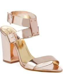Ted Baker Lissome Heeled Leather Sandals - predominant colour: blush; occasions: evening, occasion, holiday; material: leather; heel height: high; ankle detail: ankle strap; heel: block; toe: open toe/peeptoe; style: strappy; trends: metallics; finish: metallic; pattern: plain; embellishment: chain/metal
