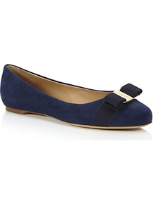 Varina Suede Pump Navy - predominant colour: navy; occasions: casual, evening, work; material: suede; heel height: flat; toe: round toe; style: ballerinas / pumps; finish: plain; pattern: plain; embellishment: bow