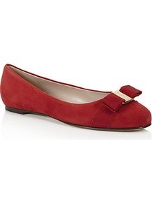 Varina Suede Pump Red - predominant colour: true red; occasions: casual, evening, work, occasion; material: suede; heel height: flat; toe: round toe; style: ballerinas / pumps; finish: plain; pattern: plain; embellishment: bow