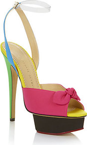 Serena Peep Toe Sandals - occasions: evening, occasion; predominant colour: multicoloured; material: fabric; heel height: high; ankle detail: ankle strap; heel: platform; toe: open toe/peeptoe; style: standard; finish: plain; embellishment: bow