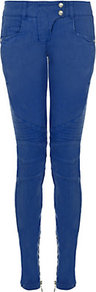 Skinny Quilted Biker Jeans - style: skinny leg; length: standard; pattern: plain; pocket detail: traditional 5 pocket; waist: mid/regular rise; predominant colour: royal blue; occasions: casual; fibres: cotton - stretch; texture group: denim; pattern type: fabric