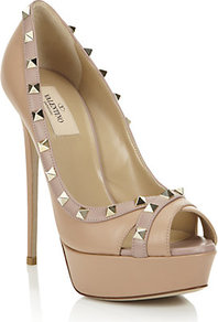 Rockstud Leather Peep Toe Platform - predominant colour: stone; occasions: evening, occasion; material: leather; heel height: high; embellishment: studs; heel: platform; toe: open toe/peeptoe; style: courts; finish: plain; pattern: plain