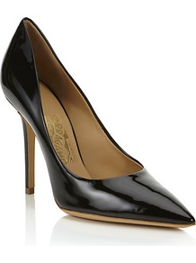 Susi Patent Leather Pump - predominant colour: black; occasions: evening, work, occasion; material: leather; heel height: high; heel: stiletto; toe: pointed toe; style: courts; finish: patent; pattern: plain