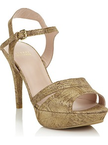Chandelle Platform Pump - predominant colour: gold; occasions: evening, occasion; material: suede; heel height: high; ankle detail: ankle strap; heel: platform; toe: open toe/peeptoe; style: strappy; trends: metallics; finish: metallic; pattern: plain