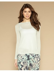 Delilah Jumper - neckline: slash/boat neckline; pattern: plain; bust detail: sheer at bust; style: standard; predominant colour: white; occasions: casual, work; length: standard; fibres: polyester/polyamide - 100%; fit: slim fit; sleeve length: long sleeve; sleeve style: standard; texture group: knits/crochet; pattern type: knitted - other