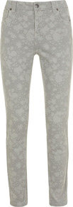 Chalk Printed Jeans - length: standard; pocket detail: traditional 5 pocket; style: slim leg; waist: mid/regular rise; predominant colour: stone; occasions: casual; fibres: cotton - stretch; jeans detail: washed/faded; texture group: denim; pattern type: fabric; pattern size: small & light; pattern: patterned/print