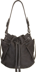 Storm Double Pocket Bag - predominant colour: charcoal; occasions: casual, work; style: shoulder; length: shoulder (tucks under arm); size: standard; material: leather; pattern: plain; finish: plain