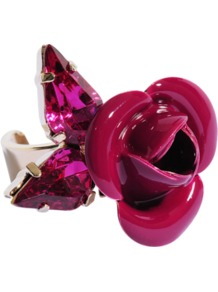 Tortesoishell And Rhinestone Ring - predominant colour: hot pink; occasions: casual, evening, occasion; style: cocktail; size: large/oversized; material: plastic/rubber; trends: fluorescent; finish: patent; embellishment: jewels