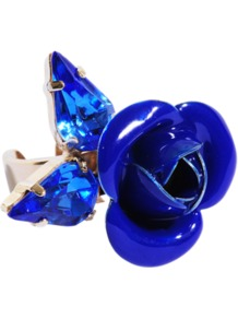 Tortesoishell And Rhinestone Ring - predominant colour: royal blue; occasions: casual, evening, occasion; style: cocktail; size: large/oversized; material: plastic/rubber; trends: fluorescent; finish: plain; embellishment: jewels
