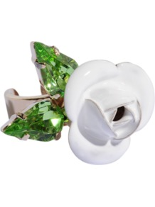 Tortesoishell And Rhinestone Ring - predominant colour: white; occasions: evening, occasion, holiday; style: cocktail; size: large/oversized; material: chain/metal; finish: patent; embellishment: jewels