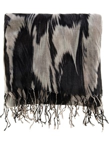 Smudgey Feather Print Scarf, Black - predominant colour: black; occasions: casual, evening, work; type of pattern: large; style: regular; size: standard; material: fabric; pattern: patterned/print