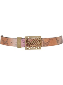 Filagree Belt, Pink - predominant colour: nude; occasions: casual, evening, work; type of pattern: standard; style: classic; size: standard; worn on: waist; material: leather; pattern: animal print; finish: metallic