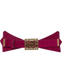Angular Belt, Pink - predominant colour: hot pink; occasions: casual, evening, work, occasion; type of pattern: standard; style: cummerbund; size: wide; worn on: waist; material: leather; pattern: plain; finish: plain