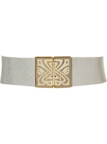 Enamel Waisted Belt, White - predominant colour: white; occasions: casual, evening, work, occasion; type of pattern: small; style: elasticated; size: wide; worn on: waist; material: fabric; pattern: plain; finish: plain