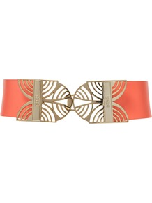 Empire Buckle Belt, Orange - predominant colour: coral; occasions: casual, evening, work, occasion; style: classic; size: wide; worn on: waist; material: leather; pattern: plain; finish: plain; embellishment: buckles
