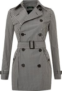 Women's Long Sleeved Checked Trenchcoat, Black & Ivory - pattern: checked/gingham; length: below the bottom; style: trench coat; collar: standard lapel/rever collar; predominant colour: black; occasions: casual, evening, work, occasion; fit: tailored/fitted; fibres: polyester/polyamide - 100%; waist detail: belted waist/tie at waist/drawstring; back detail: back vent/flap at back; sleeve length: long sleeve; sleeve style: standard; texture group: cotton feel fabrics; collar break: medium; pattern type: fabric; pattern size: small & busy