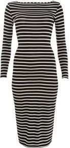 Monochrome Stripe 3/4 Sleeve Midi Dress - length: below the knee; neckline: slash/boat neckline; fit: tight; pattern: horizontal stripes; style: bodycon; hip detail: fitted at hip; predominant colour: black; occasions: casual, evening, work; fibres: polyester/polyamide - stretch; sleeve length: long sleeve; sleeve style: standard; texture group: jersey - clingy; pattern type: fabric; pattern size: standard