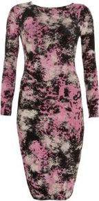 Pink And Black Tie Dye Midi Dress - length: below the knee; neckline: round neck; style: bodycon; waist detail: fitted waist; hip detail: fitted at hip; occasions: casual, evening, holiday; fit: body skimming; fibres: polyester/polyamide - stretch; predominant colour: multicoloured; sleeve length: long sleeve; sleeve style: standard; texture group: jersey - clingy; trends: statement prints; pattern type: fabric; pattern size: big & busy; pattern: patterned/print