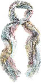 Spirited Leopard Scarf - occasions: casual, work, holiday; predominant colour: multicoloured; type of pattern: standard; style: regular; size: standard; material: fabric; embellishment: fringing; pattern: animal print