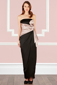 Leirah Bow Maxi Dress - neckline: strapless (straight/sweetheart); pattern: plain; style: maxi dress; sleeve style: strapless; waist detail: embellishment at waist/feature waistband; back detail: low cut/open back; predominant colour: black; occasions: evening, occasion; length: floor length; fit: body skimming; fibres: viscose/rayon - stretch; hip detail: ruching/gathering at hip; bust detail: contrast pattern/fabric/detail at bust; sleeve length: sleeveless; texture group: structured shiny - satin/tafetta/silk etc.; pattern type: fabric; pattern size: small & light