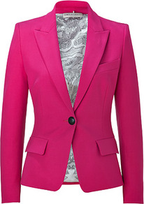 Rosebud Cotton Blend Blazer - pattern: plain; style: single breasted blazer; collar: standard lapel/rever collar; predominant colour: hot pink; occasions: casual, evening, work, occasion; length: standard; fit: tailored/fitted; fibres: cotton - stretch; waist detail: fitted waist; sleeve length: long sleeve; sleeve style: standard; texture group: crepes; collar break: medium; pattern type: fabric; pattern size: standard