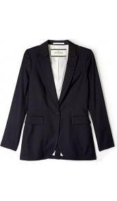 Manoni Longer Length Blazer - pattern: plain; style: single breasted blazer; collar: standard lapel/rever collar; predominant colour: black; occasions: casual, work; length: standard; fit: tailored/fitted; fibres: wool - mix; sleeve length: long sleeve; sleeve style: standard; collar break: low/open; pattern type: fabric; pattern size: standard; texture group: other - light to midweight