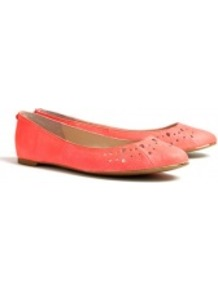 Neon Coral Leighton Snake Ballet Flats - predominant colour: coral; occasions: casual, work; material: leather; heel height: flat; toe: round toe; style: ballerinas / pumps; trends: fluorescent; finish: plain; pattern: plain