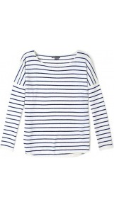 Striped Shirt Tail Jumper - neckline: round neck; pattern: horizontal stripes; style: standard; predominant colour: navy; occasions: casual, work; length: standard; fit: slim fit; fibres: cashmere - 100%; sleeve length: long sleeve; sleeve style: standard; texture group: knits/crochet; pattern type: fabric; pattern size: small & busy