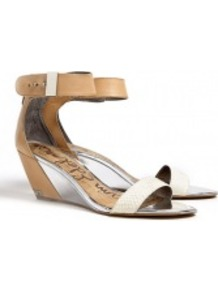 Natural Sophie Wedge Sandals - predominant colour: nude; occasions: casual, evening, work, occasion, holiday; material: leather; heel height: mid; embellishment: studs; ankle detail: ankle strap; heel: wedge; toe: open toe/peeptoe; style: standard; finish: plain; pattern: diamonds