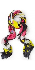 Lana Floral Graphic Modal Scarf - predominant colour: yellow; occasions: casual, evening, work, occasion, holiday; type of pattern: heavy; style: regular; size: standard; material: fabric; embellishment: fringing; trends: modern geometrics; pattern: patterned/print
