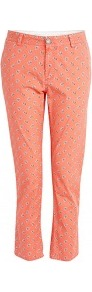 Ogalop Floral Print Rolled Jeans - pocket detail: pockets at the sides, traditional 5 pocket; style: slim leg; waist: mid/regular rise; predominant colour: bright orange; occasions: casual, holiday; length: ankle length; fibres: cotton - stretch; texture group: denim; pattern type: fabric; pattern size: small & busy; pattern: patterned/print