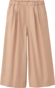 Women Cotton Skirt Trousers 31 Beige - pattern: plain; style: palazzo; pocket detail: pockets at the sides; length: below the knee; waist: mid/regular rise; predominant colour: camel; occasions: casual, evening, work, holiday; fibres: cotton - 100%; trends: volume; fit: wide leg; pattern type: fabric; texture group: jersey - stretchy/drapey