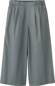 Women Cotton Skirt Trousers 56 Olive - length: calf length; pattern: plain; style: culotte; fit: loose/voluminous; waist: mid/regular rise; predominant colour: mid grey; occasions: casual, evening, work, holiday; fibres: cotton - 100%; hip detail: sculpting darts/pleats/seams at hip; texture group: cotton feel fabrics; trends: volume; pattern type: fabric