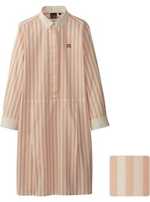 Women Dip G.M.B.P. 3/4 Sleeve Shirt Dress 10 Pink - style: shirt; length: mid thigh; neckline: shirt collar/peter pan/zip with opening; fit: loose; pattern: vertical stripes; hip detail: front pockets at hip; predominant colour: camel; occasions: casual, evening, work, holiday; fibres: cotton - 100%; sleeve length: long sleeve; sleeve style: standard; texture group: cotton feel fabrics; pattern type: fabric; pattern size: standard