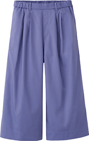 Women Cotton Skirt Trousers 72 Purple - length: calf length; pattern: plain; style: culotte; fit: loose/voluminous; waist: mid/regular rise; predominant colour: purple; occasions: casual, evening, work, holiday; fibres: cotton - 100%; texture group: cotton feel fabrics; trends: volume; pattern type: fabric