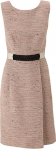 Sophia Dress - style: shift; neckline: round neck; sleeve style: sleeveless; waist detail: embellishment at waist/feature waistband; back detail: low cut/open back; pattern: herringbone/tweed; predominant colour: blush; occasions: casual, evening, work, occasion; length: on the knee; fit: fitted at waist &amp; bust; fibres: cotton - mix; sleeve length: sleeveless; trends: glamorous day shifts; pattern type: fabric; pattern size: small &amp; light; texture group: tweed - bulky/heavy