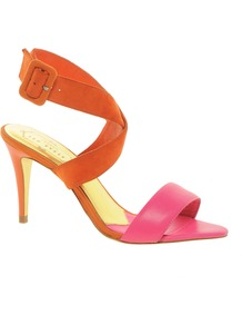 Jolea Strapped Sandals - predominant colour: bright orange; occasions: evening, occasion; material: leather; heel height: high; ankle detail: ankle strap; heel: stiletto; toe: open toe/peeptoe; style: strappy; finish: plain; pattern: colourblock