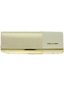 Gold And Cream Colourblock Slim Clutch - predominant colour: gold; occasions: evening, occasion; type of pattern: standard; style: clutch; length: hand carry; size: small; material: faux leather; trends: metallics; finish: metallic; pattern: colourblock; embellishment: chain/metal