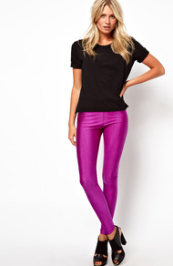 Leggings In Shimmer Effect - pattern: plain; style: leggings; waist detail: elasticated waist; waist: mid/regular rise; predominant colour: magenta; occasions: casual, evening, holiday; length: ankle length; fibres: polyester/polyamide - stretch; texture group: jersey - clingy; fit: skinny/tight leg; pattern type: fabric