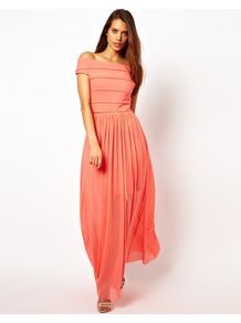 Bandage Maxi Dress With Chain Belt - neckline: off the shoulder; sleeve style: capped; pattern: plain; style: maxi dress; predominant colour: coral; occasions: casual, evening, occasion, holiday; length: floor length; fit: fitted at waist & bust; fibres: polyester/polyamide - stretch; hip detail: soft pleats at hip/draping at hip/flared at hip; bust detail: contrast pattern/fabric/detail at bust; sleeve length: short sleeve; texture group: sheer fabrics/chiffon/organza etc.; pattern type: fabric; pattern size: small & light