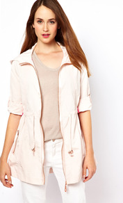 Zip Through Hooded Parka - pattern: plain; length: below the bottom; fit: loose; style: parka; collar: high neck; predominant colour: blush; occasions: casual; fibres: polyester/polyamide - mix; waist detail: belted waist/tie at waist/drawstring; sleeve length: long sleeve; sleeve style: standard; texture group: crepes; collar break: high; pattern type: fabric