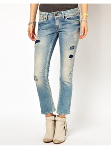 Elora Distressed Jeans - pattern: plain; pocket detail: traditional 5 pocket; style: slim leg; waist: mid/regular rise; predominant colour: denim; occasions: casual; length: ankle length; fibres: cotton - stretch; jeans detail: shading down centre of thigh, washed/faded; texture group: denim; pattern type: fabric