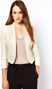 Metallic Boucle Jacket - pattern: plain; style: single breasted blazer; collar: standard lapel/rever collar; predominant colour: ivory; occasions: casual, evening, work; length: standard; fit: tailored/fitted; fibres: cotton - mix; sleeve length: 3/4 length; sleeve style: standard; trends: metallics; collar break: low/open; pattern type: fabric; pattern size: small & light; texture group: tweed - light/midweight